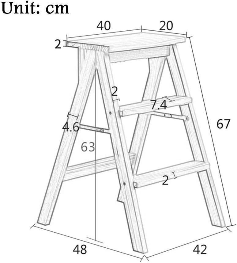 AISHANG Chaise pliante multifonction en bois massif pour mini tabouret (vert) (couleur: blanc) Blanc