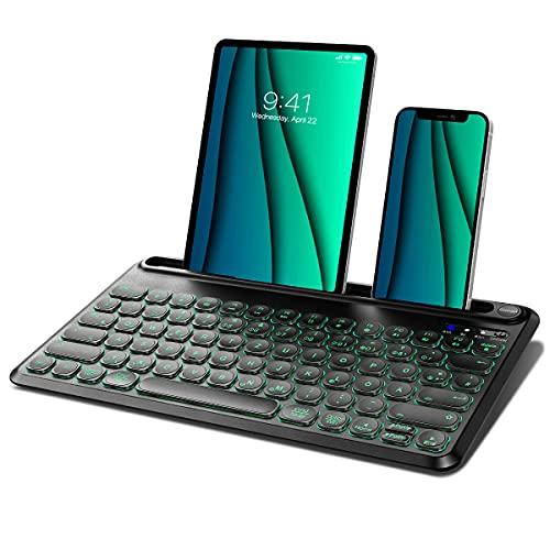 Dracool Bluetooth Tastatur Kabellos mit 7 Farben Beleuchtete und 3 Bluetooth Kanälen Wiederaufladbare Tablet Tastatur mit Halterung für iPad/iOS/Mac/Windows/Android Deutsch QWERTZ-Layout - Schwarz