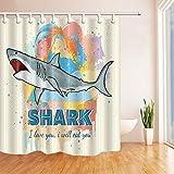 Aquarell-Hai mit ich werde Sie Badezimmer-Duschvorhang Essen