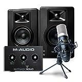 Paquete para grabación, streaming y pódcast de M-Audio: interfaz de audio USB M-Track Solo, altavoces estéreo BX4 y micrófono de condensador Marantz MPM-1000