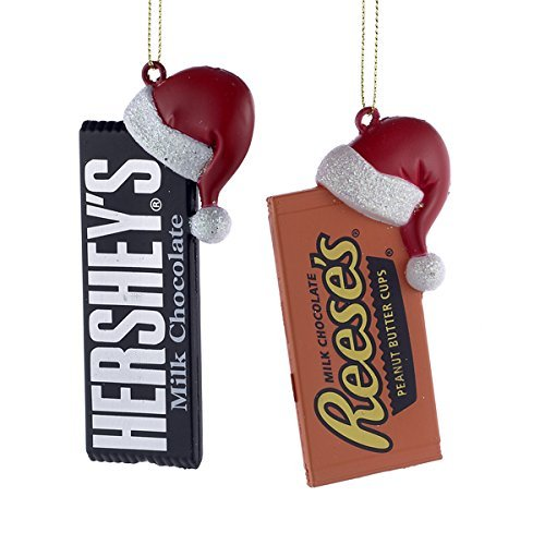 HERSHEY'S CANDY BAR WITH SANTA HAT ORNAMENT - 2 ASSORTED: HERSHEY'S AND REESE'S