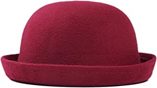 Child Girls Vintage Wool Felt Bowler Hat Caps Derby Cap Dome Hat