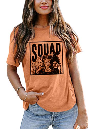 Sanderson Sisters Squad Cute T Shirt Halloween Graphic Tees for Women Hocus Pocus Funny Shirts Fall Casual Tops (Yellow, X-Large)
