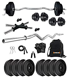 Kore PVC 16 Kg Home Gym Set with One 3 Ft Curl and One Pair Dumbbell Rods with Gym Accessories,Kore,PVC 16 Kg Home Gym