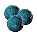 Decorative Orbs Set of 3 Glass Mosaic Sphere Balls Diameter 4' (Turquoise) for Bowls,Vases and Table Centerpieces.