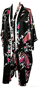 CC Collections Kimono 16 Colours Premium Version Free 1st Class UK Shipping Dressing Gown Robe Lingerie Night wear Dress Bridesmaid Hen Night  Black