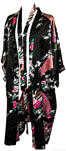 CCcollections Kimono Night Dress 16 Colours Dressing Gown Robe Lingerie Night Wear Dress Bridesmaid Hen Night (Nero (Black))