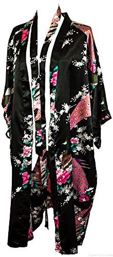 Kimono Robe Long 16 Colors Premium Peacock Bridesmaid Bridal Shower Womens Gift, 8 - 16 UK adult, Black