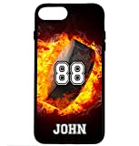 iPhone 8 Case, iPhone 7 Case, ArtsyCase Fire Hockey Puck Personalized Name Number Phone Case for iPhone 7 and iPhone 8 (Black)