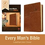 Every Man's Bible: New Living Translation, Deluxe Messenger Edition (LeatherLike, Brown) – Study Bible for Men with Study Notes, Book Introductions, and 44 Charts