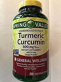 Spring Valley Turmeric Curcumin 500mg with Ginger Powder, General Wellness, 250 Capsules (Pack of 2)