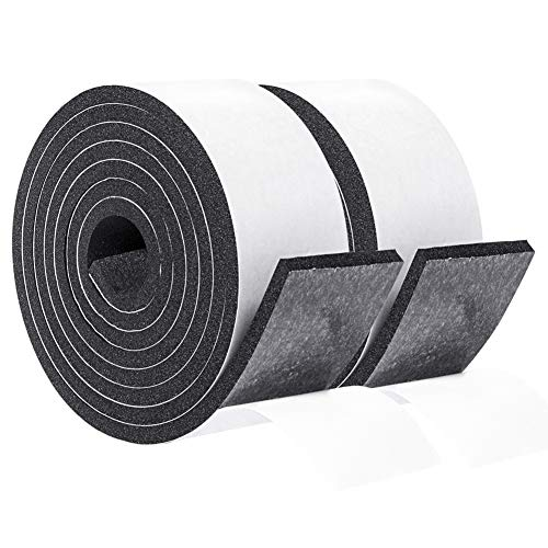 Foam Rubber Seal Strip Tape 2 Inch Wide X 1/4 Inch Thick, Foam Adhesive Strips Closed Cell Foam Tape Automotive Weather Stripping, Total 13 Feet Long (2 Rolls of 6.5 Ft Long Each)