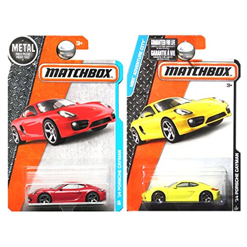 Matchbox Porsche Cayman in Red and Yellow SET OF 2