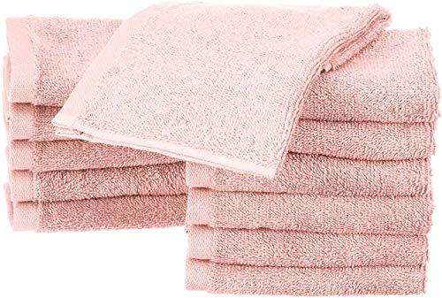 AmazonBasics - Asciugamani in cotone - Confezione da 12, Rosa pallido