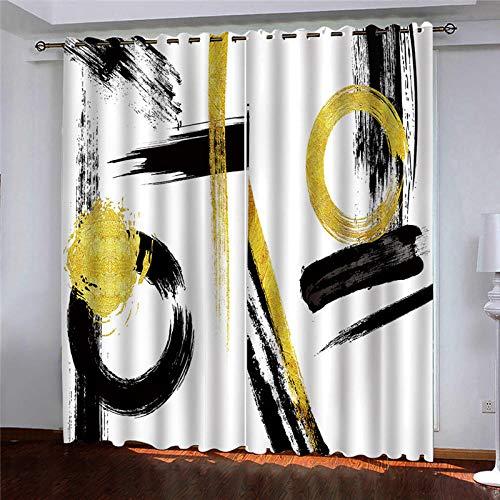 ZLXSAM Cortinas Opacas con Aislamiento Minimalismo Negro Amarillo Graffiti 280X250Cm Moderno Ventana Salon Paneles con Ojales para Sala Cuarto Comedor Salon Cocina Habitación