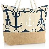com-four® Bolsa de Playa Grande - Bolsa de Piscina para Utensilios de Playa - Bolso para Compras - Bolsa de Hombro para Playa, Piscina, Vacaciones (Beige - Ancla Azul)