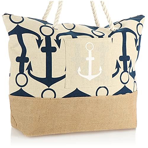 COM-FOUR® Grote strandtas - Moderne zwembadtas voor strandspullen - Dames shopper om te winkelen - Schoudertas voor strand, zwembad, vakantie (beige - blauw anker)