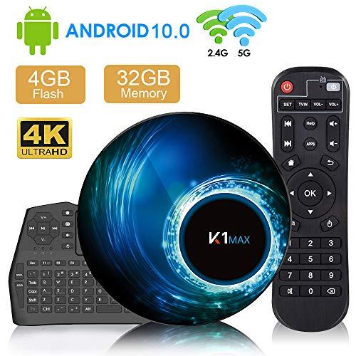 Maxsooner Android 10.0 TV-Box 4G + 32G mit Mini-Tastatur RK3318 Quad-Core 64-Bit, Wi-Fi-Dual 5G / 2,4G, BT 4.0, 4K * 2K UHD H.265, USB 3.0 Smart-TV-Box