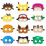 MALLMALL6 12Pcs Pikachu Masks Dress Up Costumes Pikachu Halloween Birthday Party...