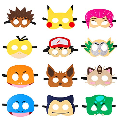 MALLMALL6 24Pcs Cartoon Masks Cartoon Paper Mask Birthday Party Favors Photo Booth Props Party Supplies for Kids Boys Girls
