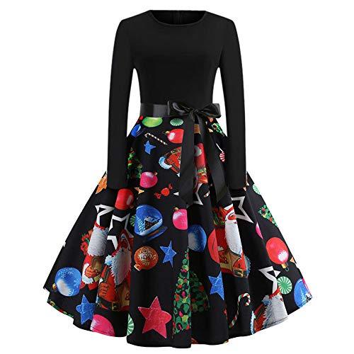 Xmiral Damen Vintage Weihnachten Kleid Print Langarm Abend Party Faltenrock (XL,Mehrfarbig5)