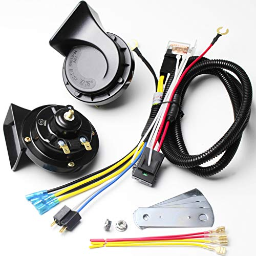 FARBIN Waterproof Auto Horn 12V Car Horn Loud Dual-Tone Electric Snail Horn Kit with Relay Harness,Universal for Any 12V Vehicles Black