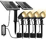 MEIHUA Solar Gartenleuchte Solar Strahler 4 Stück IP66 wasserdichte, 2 Stücke Hocheffiziente Solar Panel Automatische EIN/Aus Solarlampe mit Erdspieß, für Gärten, Sträucher und Bäume Warmweiß 600LM