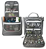 WAYFARER SUPPLY Hanging Toiletry Bag: Pack-it-flat Travel Kit, w Jewelry Organizer, Grey