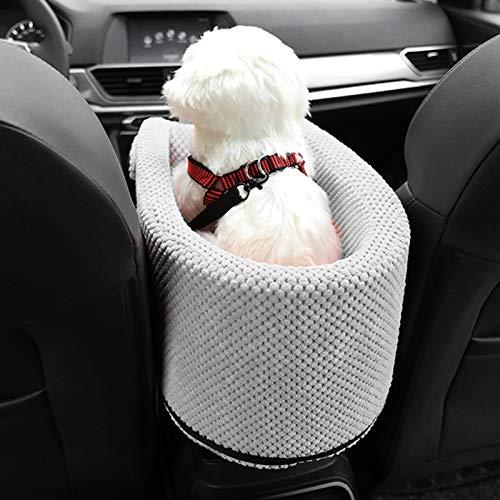 Asiento Elevador De Perros Pequeños Y Gato para Apoyabrazos, Asiento De Coche para Perros Cama para Perro Mascota con Cinturón De Seguridad,Lavable,para La Mayoría De Los Coches/SUV,Gris
