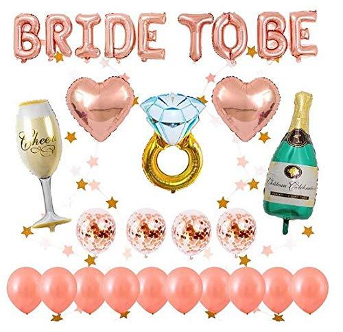 Rose Gold Junggesellinnenabschied Dekoration Luftballons Set, 1 Stück BRIDE TO BE Brief, 14 Stück Latex Luftballons, 5 Stück Folien ballons unterschiedlicher Form, 2 Meter Sternform hängende Girlande