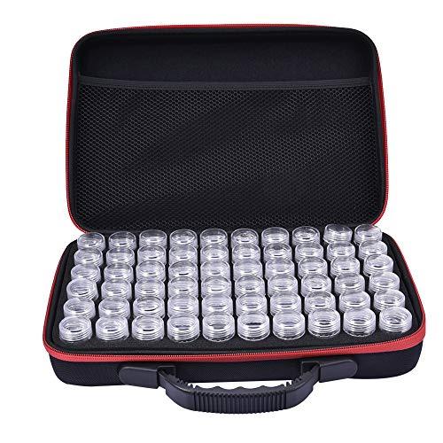 XGZ Diamant Stickbox, 60 Slots Durchsichtige Kunststoffperlen Aufbewahrungsboxen für Schmuckherstellung, Kreuzstich Werkzeuge (rot)