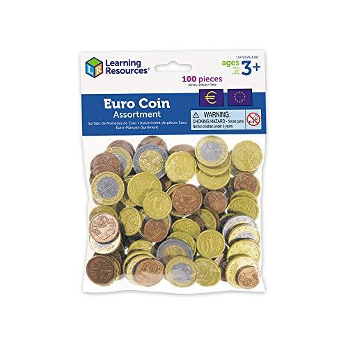 Learning Ressources- Kit de pièces en Euros (Jeu de 100), LSP0026-EUR