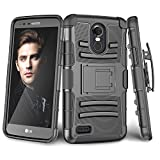 LG Stylo 3/ LG Stylo 3 Plus Case, TILL [Knight Armor] Heavy Duty Full-Body Rugged Holster Resilient Armor Case [Belt Swivel Clip][Kickstand] Combo Cover Shell for LG Stylus 3 All Carriers [Black]