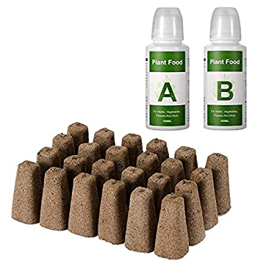 Yoocaa Seed Pods Kit for Hydroponics Growing System, Seed Starter Pods with 24pcs Grow Sponges, A&B Solid Nutrient Plant Foods, Seed Starter Plugs Replacements