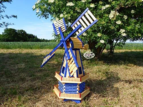 Schöne Windmühle, für Pferde-Weide und Garten 130 cm, blau-natur zweistöckig MIT 2 BALKONEN, garten windmühlen, ohne / mit Solar, WMH130bl-OS 1,30 m groß blau mittelblau dunkelblau königsblau, himmel