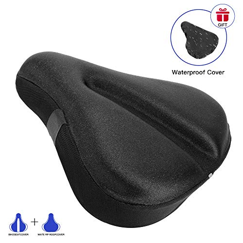 AceList Large Soft Bike Seat Cover, Wide Gel Soft Pad Exercise Bike Seat Cushion, Wide Foam Bicycle Seat Cushion, Fits Cruiser, Stationary Bikes, Outdoor Indoor Cycling (Reflective Strips)