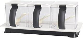 METKA Kitchen Seasoning Box Set - 3 Separate Handle Condiment Boxes-Seasoning Box Jar Plastic Condiment Transparent Storage Container- Cruet with Cover and Spoon (White)