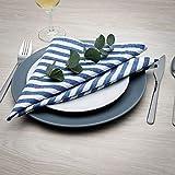 FILU Servietten 8er Pack Blau/Weiß gestreift (Farbe und Design wählbar) 45 x 45 cm – Stoffserviette aus 100% Baumwolle im skandinavischen Landhausstil - 3