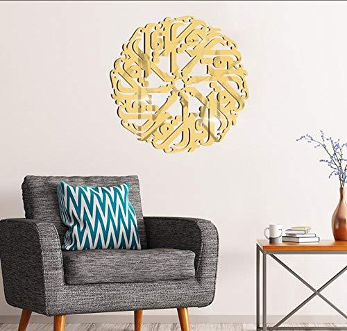 Layyqx Moslemische cultuur Arabische tekst 3D acryl spiegel sticker slaapkamer woonkamer decoratie schilderij zelfklevende muursticker 50 cm rond