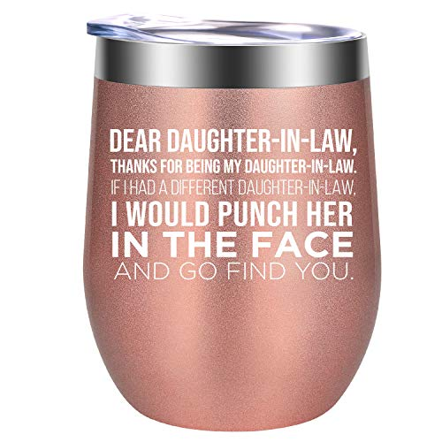 Daughter in Law Gift Ideas - Dear Daughter in Law - Funny Mothers Day, Birthday Gifts for Daughter in Law - Daughter in Law Gifts, Future Daughter in Law Gifts from Mother in Law - GSPY Wine Tumbler
