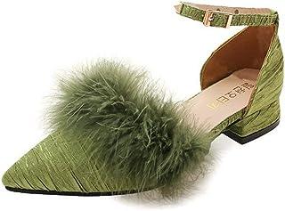 ファー付き リベット付き ポインテッドトゥ パンプス 結婚式 ローヒール ヒール 2.5cm 脱げない 痛くない 歩きやすい パンプス チャンキーヒール 太ヒール 黒 グリーン ベージュ プリーツ サンダル レディース シューズ 靴