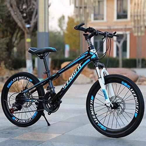ZTYD Kinderfiets, Mountainbike 21-Speed Dubbele schijfrem Suspensie Anti-Slip, Suspensie Vork, 20 Inch/24 Inch, Mountainbiken Volwassene, Blauw, 24 inch