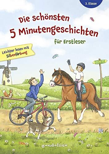 Die schönsten 5 Minutengeschichten für Erstleser (Mädchen Jungen), 2. Klasse - Leichter lesen mit Silbenfärbung - Kinderbücher ab 7-8 Jahre: Große ... mit Verständnisfragen am Ende des Buches.