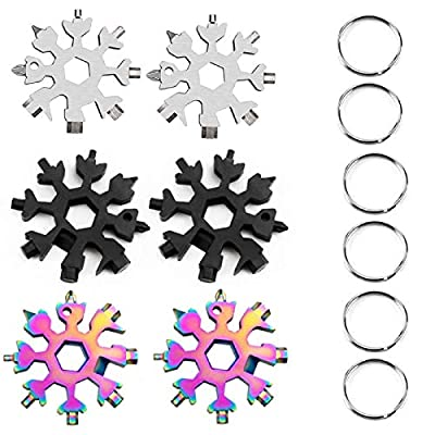 18-in-1 Stainless Steel Snowflake Multi-Tool, Outdoor Wrench Tools, Keychain Combination Tools for Military Enthusiasts, 6Pack,Black&Silver&Color