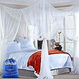 opamoo Moskitonetz Doppelbett, Moskitonetz Bett mit 4 Einträge Groß Tragbares Mückennetz mit Feinmashiges für Reise und Zuhause(Weiß, 190 x 240 x 210cm)