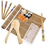 10 pièces kit à sushi comprend 2 tapis à rouler en bambou,5 paires de baguettes,1 pagaie de riz, 1
