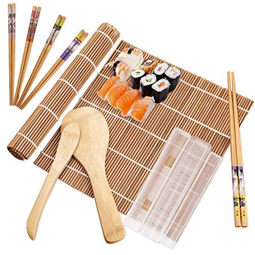 10 Pièces Kit à Sushi comprend 2 tapis à rouler en bambou,5 paires de baguettes,1 pagaie de riz, 1 Moule et 1 spatule à riz Kit de Fabrication de Sushi en Bambou pour Les Amateurs de Sushi,Débutants