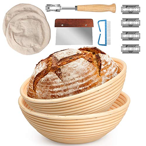 10 Inch and 9 Inch Banneton Bread Proofing Basket 2 Set with Dough Bowl, Stainless Steel Scraper, Bread Lame, Liner and Cleaning Brush - Bread Tools Dough Gifts for Professional, Home Bread Bakers
