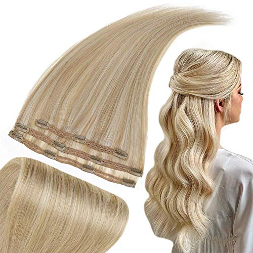 Runature Haar Extensions Echthaar Clip Blond Remy Echthaar Extensions 14 Zoll 50G 3 Pcs #16 Goldene Blondine Highlighted Met #24 Hellblond Echthaar Verlängerung Clip