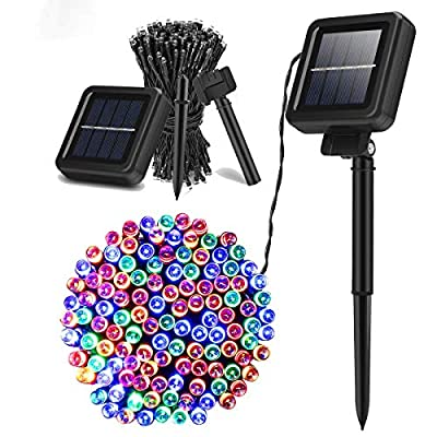 YUNNI Solar String Light Outdoor, 2 Pack Multi-Colored Solar Christmas Lights, 72 ft 200led Per Pack Solar Fairy Light, IP65 Waterproof for Christmas, Party, Yard